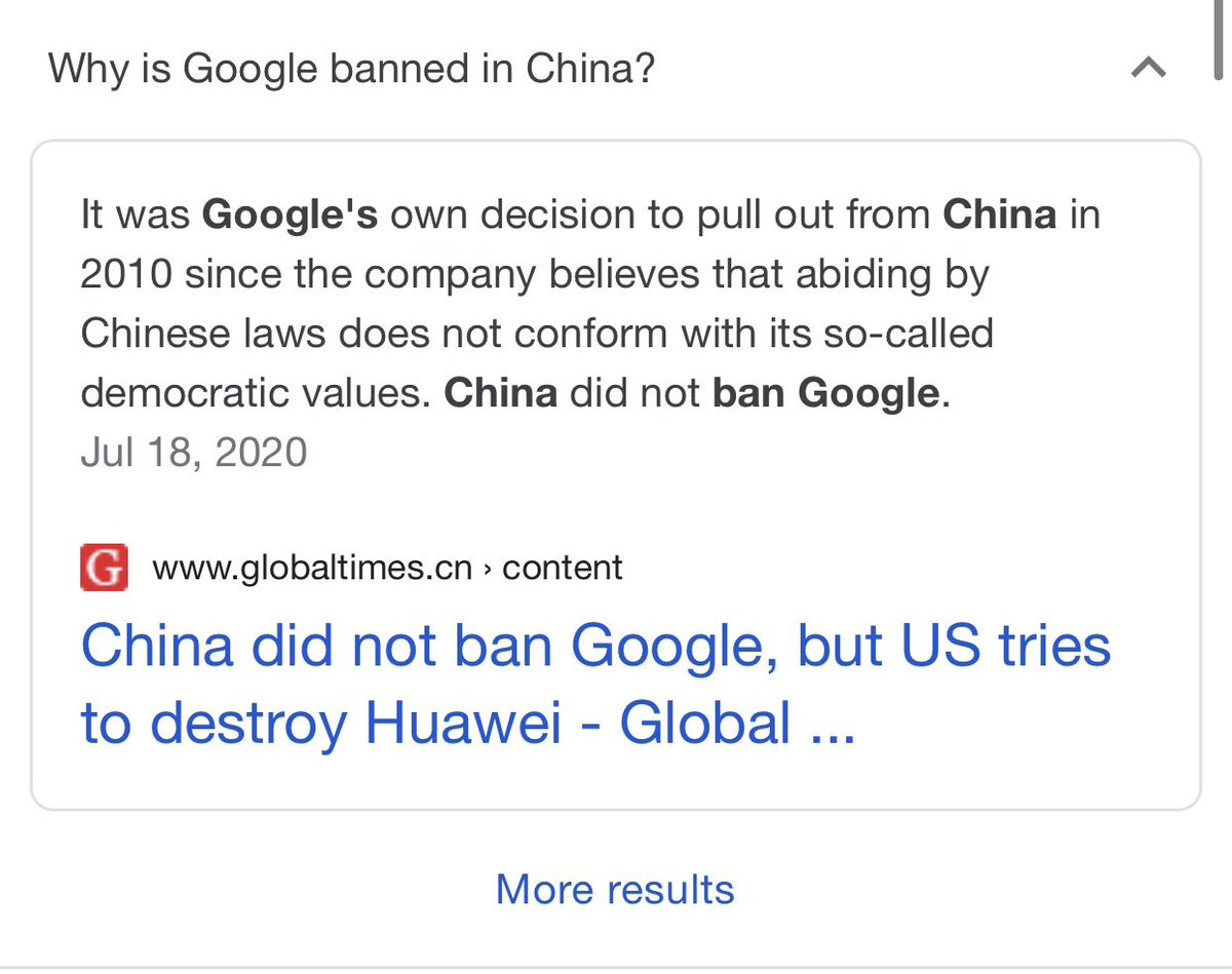 It's easy to wonder about the efficacy of China's state-backed papers blasting away in English. But over time it has an impact. I ran into a good example yesterday, Google offers a shortcut to the Global Times' explanation of its own block in China.