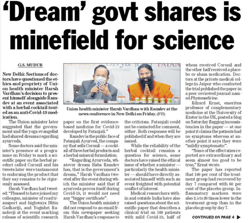 Sections of #Doctors have questioned the ethics and propriety of Union health minister #HarshVardhan's decision to present himself alongside #Ramdev at an event associated with a herbal cocktail touted as an anti-Covid-19 medication.  #DreamWasWrong #COVID19