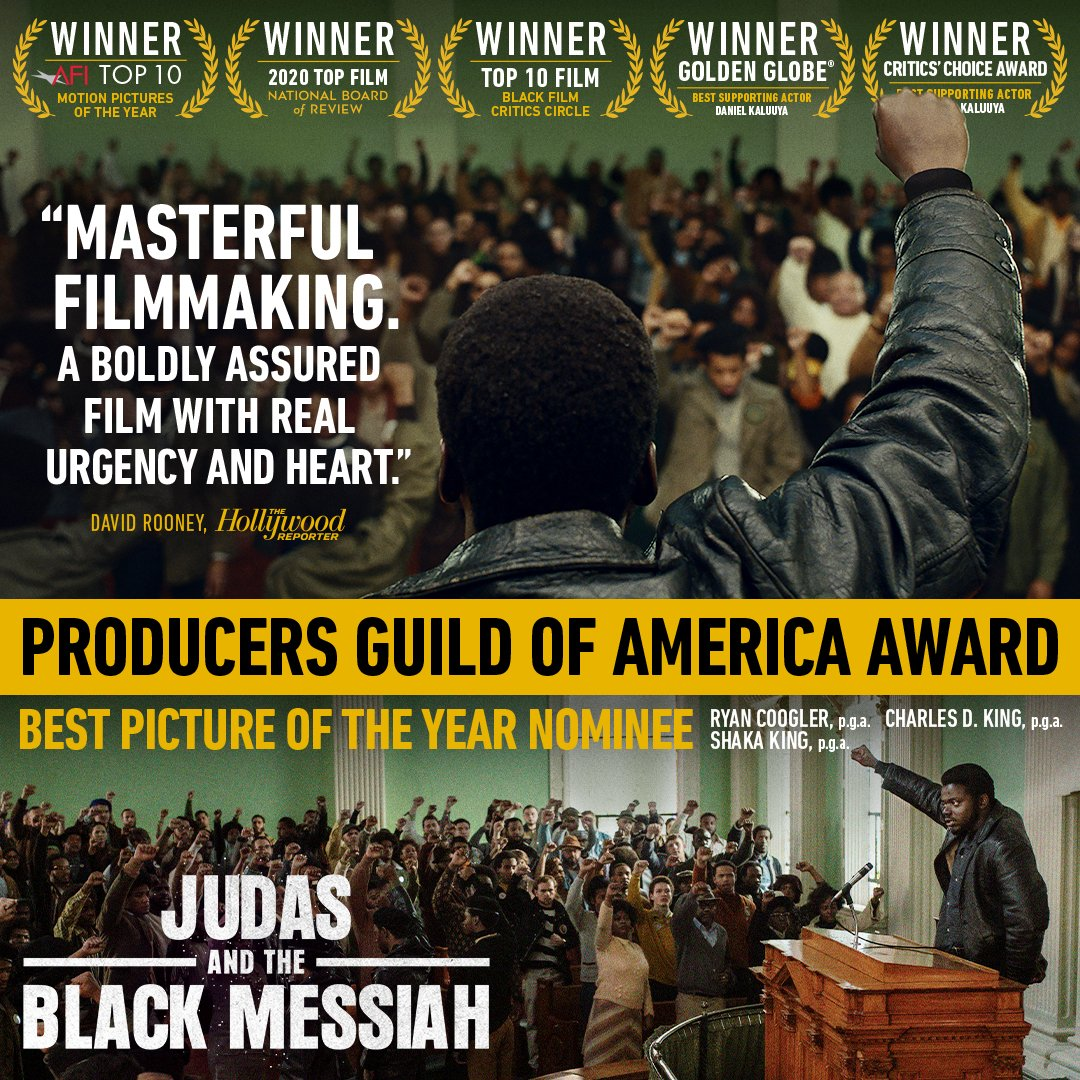 Congratulations to #JudasAndTheBlackMessiah's Shaka King, Ryan Coogler, and @IAmCharlesDKing for making history as the first all Black producing team to be nominated for the Daryl F. Zanuck Award for Outstanding Producer of Theatrical Motion Pictures. #PGAAwards