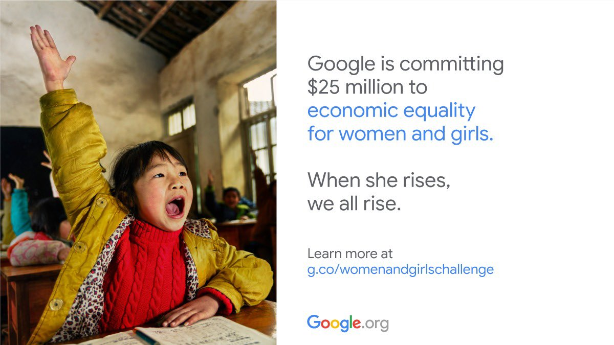 I'm proud to be part of the #GoogleorgImpactChallenge for Women & Girls, which commits $25M to empower women & girls to reach their full economic potential & thrive.  Apply now for a chance to receive up to $2M from @GoogleOrg  https://t.co/X9nzOrfEob https://t.co/FNllxqNjTG