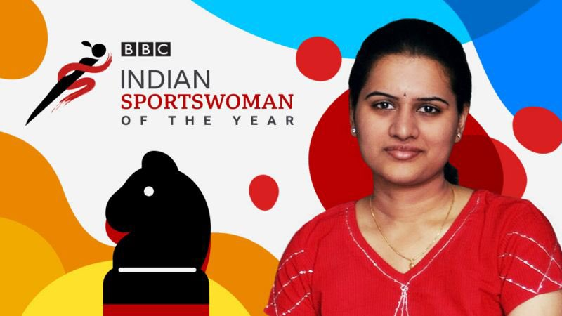Graphic showing image of Koneru Humpy - winner of the BBC Indian sportswoman of the year award, with image of knight chess piece