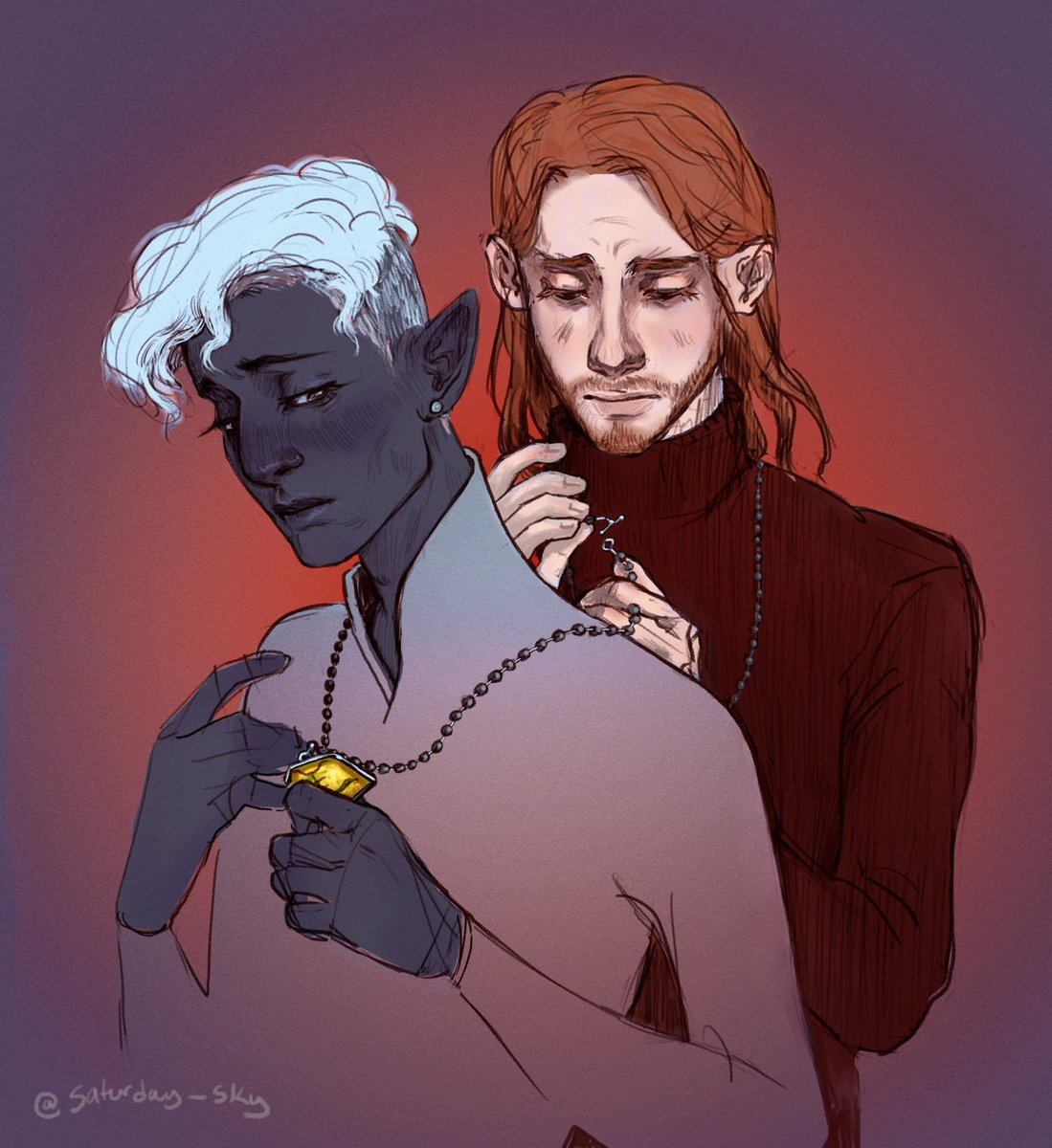 """""""And an amulet for Essek,"""" Caleb said.  Just bit of shadowgast tension to start the week. Will they ever talk about what's between them? No. Will that stop them from getting into each other's personal space for flimsy reasons? Also no  #criticalrolefanart #CriticalRoleSpoilers"""