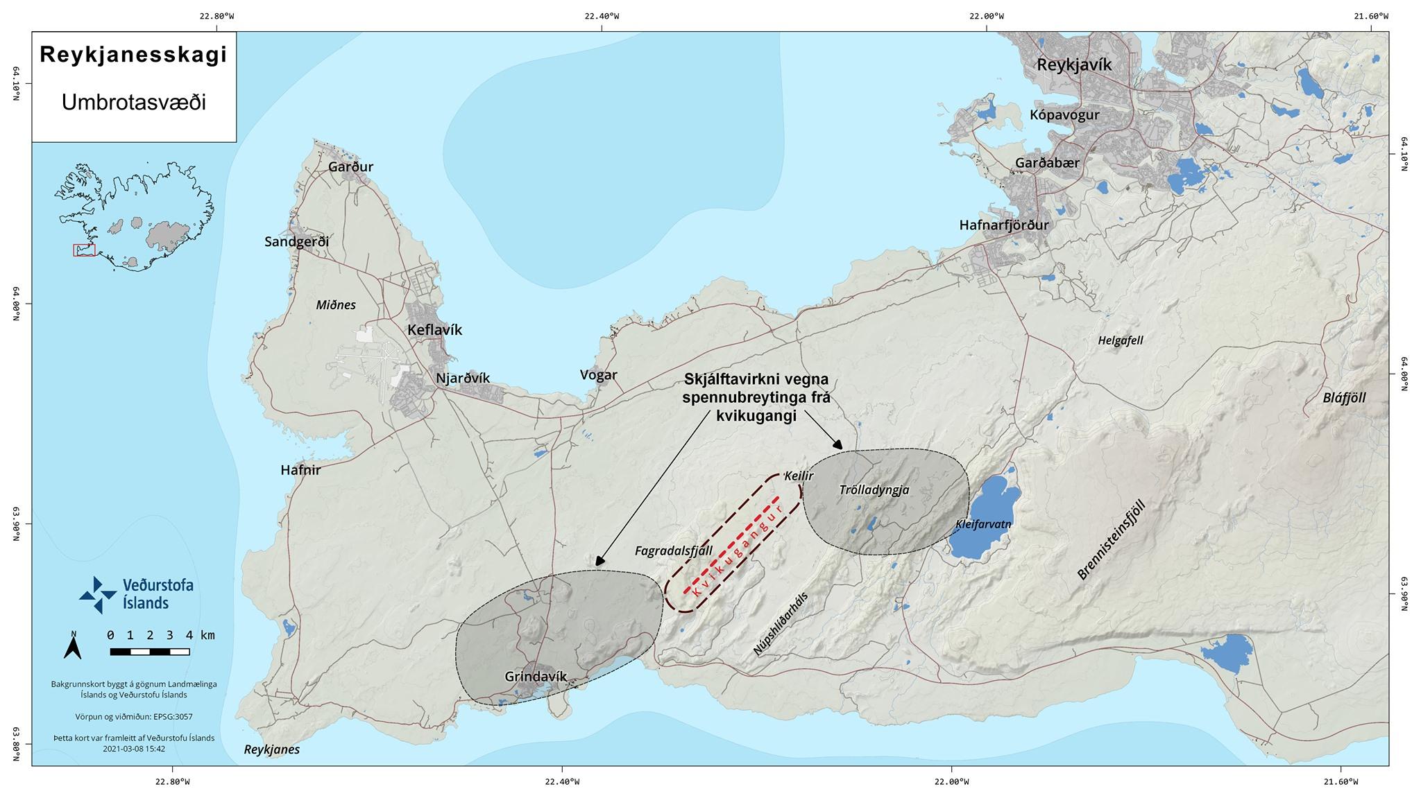 Reykjanes: Position der Magmaintrusion (gepunktete rote Linie) und mögliche zukünftige Bebengebiete (graue Flecken)