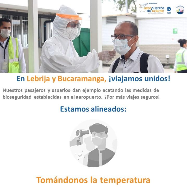 #FelizLunes Nos mantenemos tomando la temperatura de nuestros #pasajeros y usuarios del #aeropuerto internacional Palonegro de #Lebrija y que sirve a #Bucaramanga. Ofrecer un #servicio, cuya base es la protección de tu #salud, es nuestra labor. #SomosTuAliado en #Santander.
