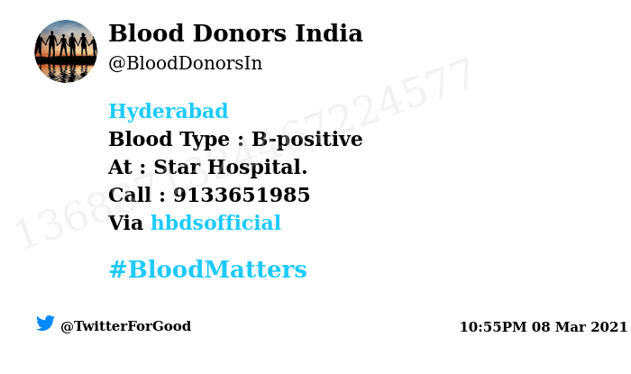 #Hyderabad Need #Blood Type :  B-positive At : Star Hospital.  Blood Component : Blood Number of Units : 2 Primary Number : 9133651985 Via: @hbdsofficial #BloodMatters Powered by Twitter