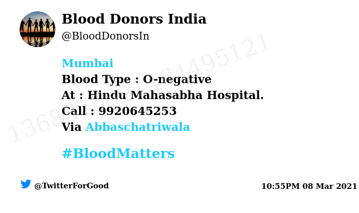 #Mumbai Need #Blood Type :  O-negative At : Hindu Mahasabha Hospital.  Blood Component : Blood Number of Units : 2 Primary Number : 9920645253 Via: @Abbaschatriwala #BloodMatters Powered by Twitter