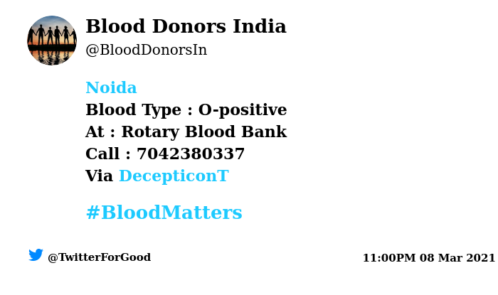 #Noida Need #Blood Type :  O-positive At : Rotary Blood Bank Blood Component : Platelets  Number of Units : 2 Primary Number : 7042380337 Via: @DecepticonT #BloodMatters Powered by Twitter