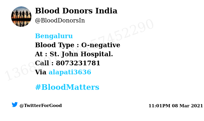 #Bengaluru  Need #Blood Type :  O-negative At : St. John Hospital.  Blood Component : Blood Number of Units : 3 Primary Number : 8073231781 Via: @alapati3636 #BloodMatters Powered by Twitter