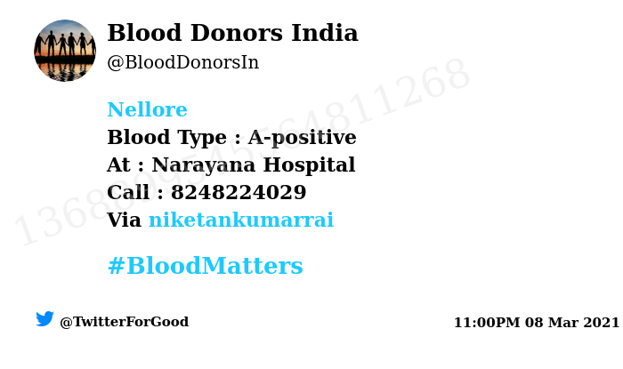 #Nellore Need #Blood Type :  A-positive At : Narayana Hospital Blood Component : Need Plasma from A+ve #COVID19 recovered patient. Number of Units : 2 Primary Number : 8248224029 Secondary Number : 8248224029 Via: @niketankumarrai #BloodMatters Powered by Twitter