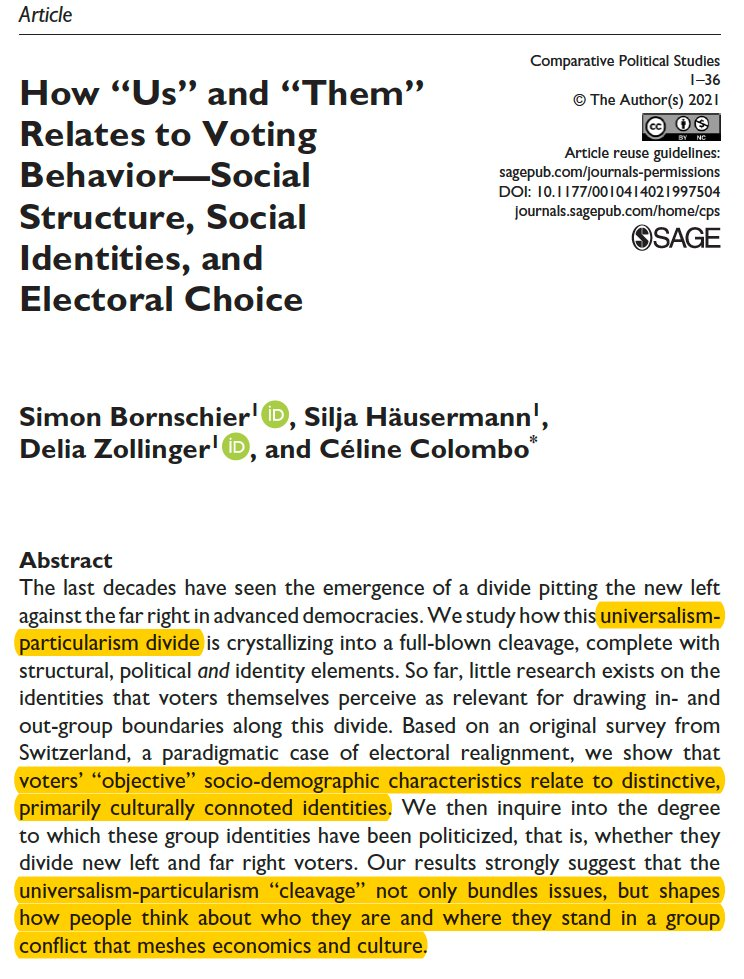 Happy to share this article, with @SiljaHausermann, @dpzollinger &C.Colombo @cps_journal We study how the '2nd dimension' aka universalism-particularism divide is crystallizing into a full-blown cleavage with structural, political & identity elements tinyurl.com/4b5ts4rp 1/6