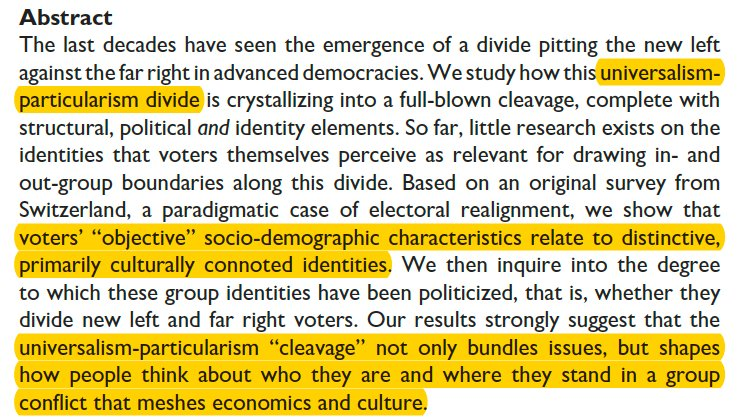 Happy to share this article, with @SBornschier, @SiljaHausermann and C.Colombo @cps_journal on how the '2nd dimension' or universalism-particularism divide is crystallizing into a full-blown cleavage, with structural, political AND identity elements. tinyurl.com/4b5ts4rp 1/6