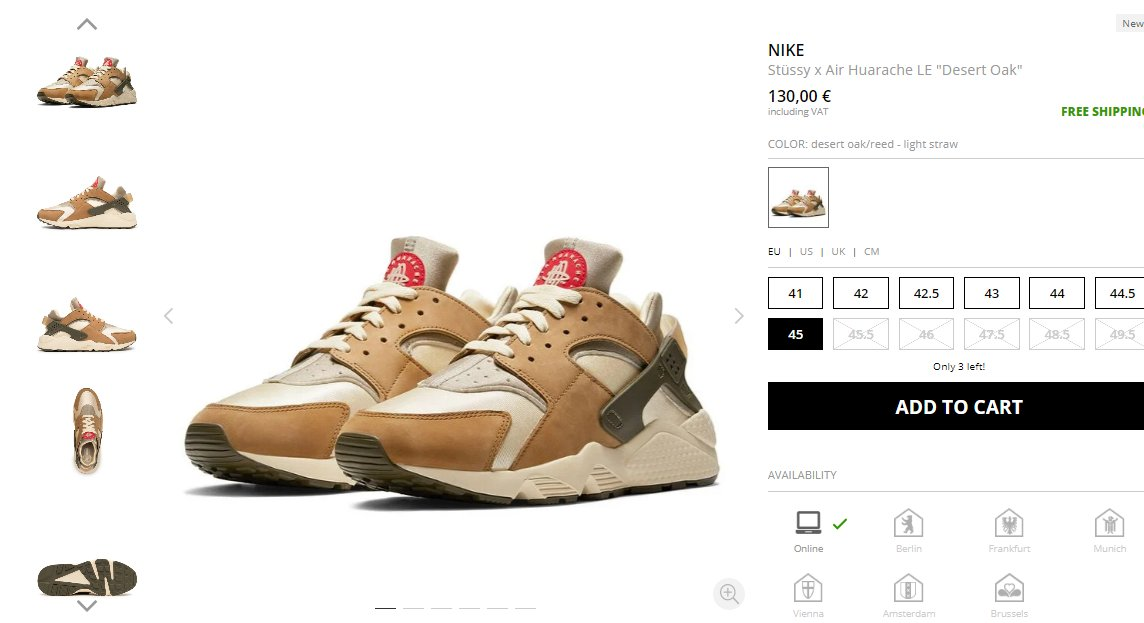 Ad: Most sizes of the Nike x Stüssy Air Huarache LE