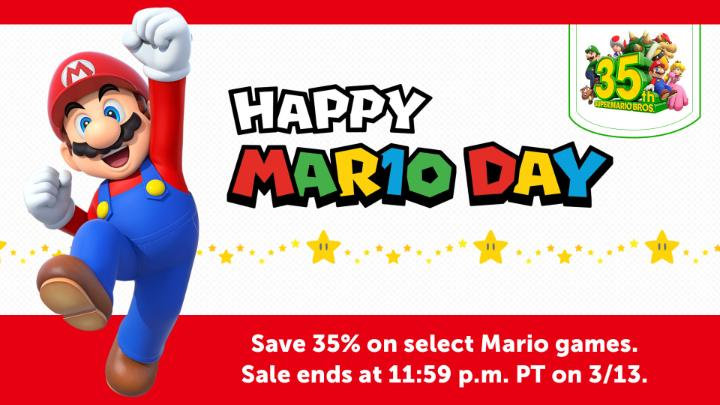 Celebrate everyone's favorite ground-pounding superstar by saving 35% on select Mario games! Deals last through 11:59 p.m. PT on 3/13.