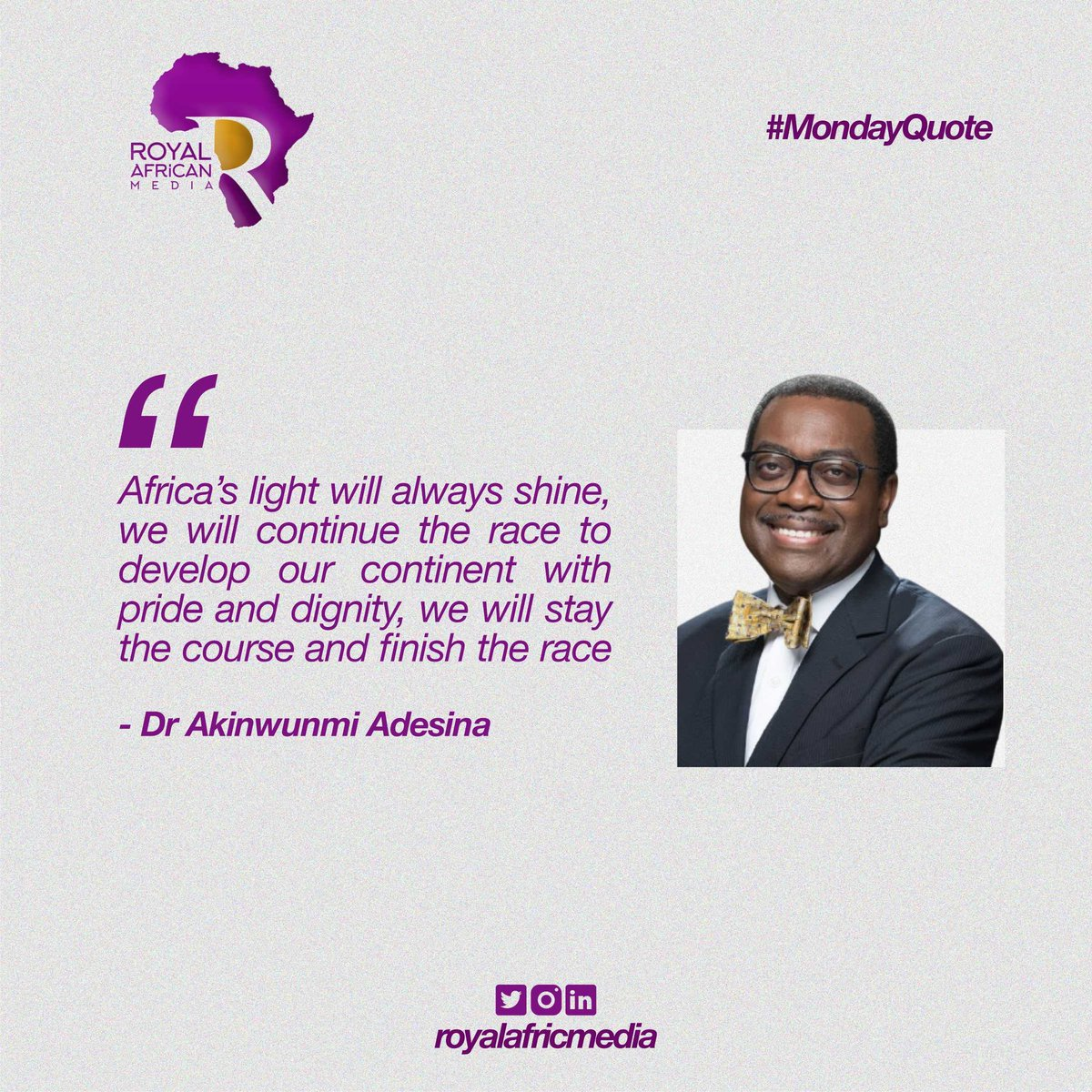 Africans will never relent nor give up on the development of the continent.  #mondaythoughts #MotivationMonday