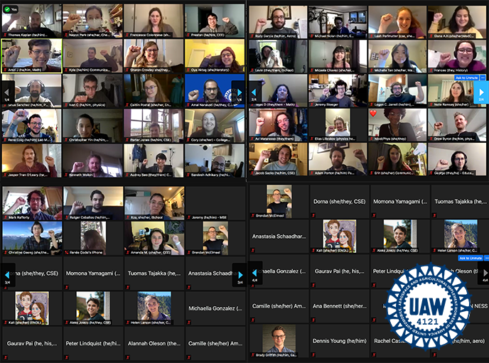 Screenshot of a zoom meeting with a 10x10 grid of rectangles with zoom participants' videos. In the bottom right corner is the blue UAW 4121 wheel logo.