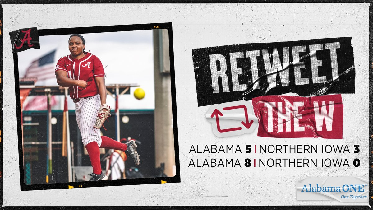 Roll Tide! Savannah walks Game 2 off with a GRAND SLAM and Jaala Torrence shuts out UNI to give @AlabamaSB two in the win column! #RollTide #PartyAtRhoads 🥎🎉