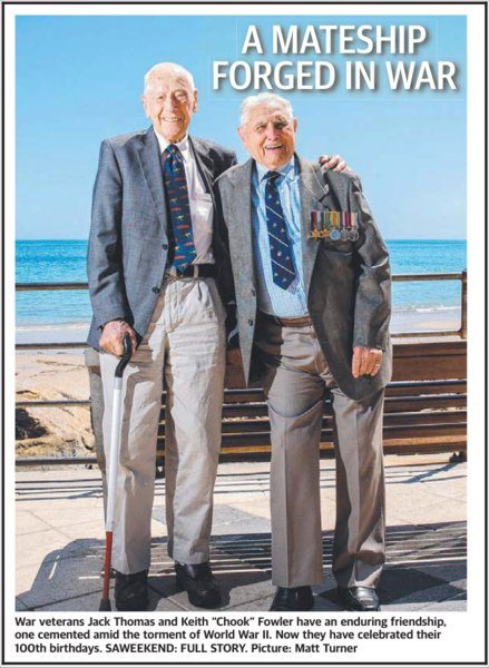 test Twitter Media - Former prisoners of war of the Japanese, Jack Thomas and Keith Fowler are both 100 and intend taking part in the Adelaide ANZAC Day March. https://t.co/kgO74knjxT