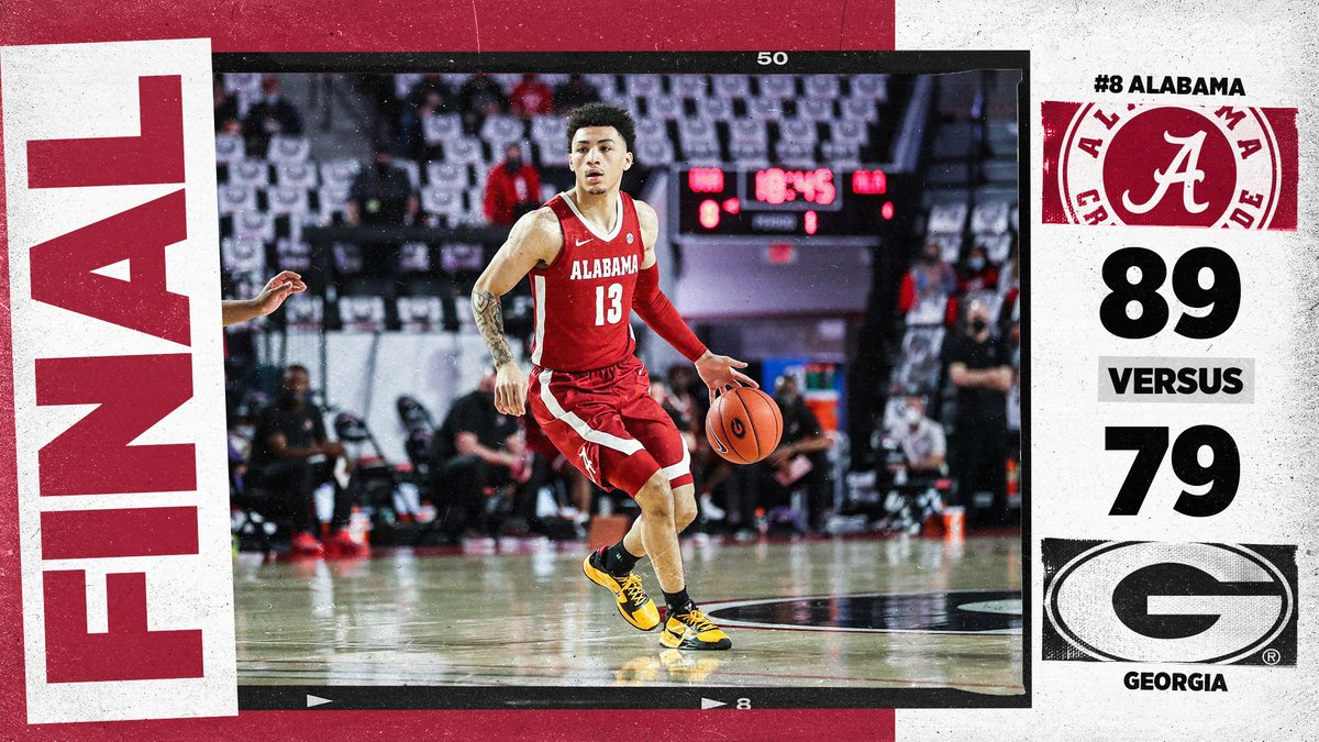 We finish the regular season with 21 wins (most since 2012-13) tying the school record for most wins in an SEC season at 16-2 the most since 1986-87 #RollTide | #BlueCollarBasketball