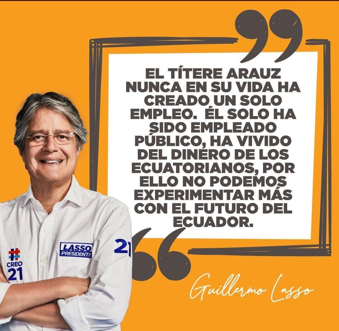 😡Guillermo Lasso sutilmente INSULTA a todos los servidores públicos, argumenta que al igual que el presidenciable Andrés Arauz solo sirven para vivir del dinero de los ecuatorianos. Claro está que el banquero Lasso odia a los ecuatorianos. @PedritoExtranja  @ramiroaguilart https://t.co/hQHykmOBfJ