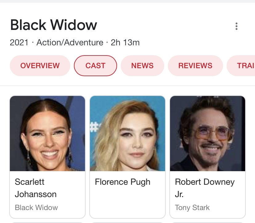 """not me forgetting black widow takes place before endgame... i was like """"omg why is rdj on the cast list 😧😧😧"""""""