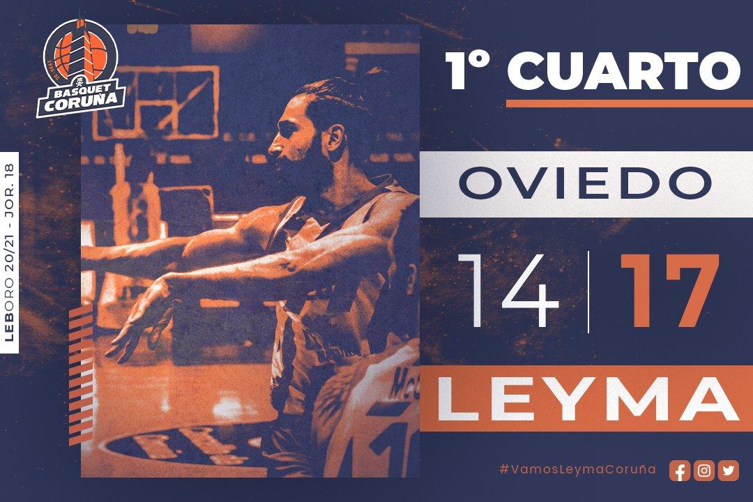 ⏰ 1Q | Final  📝 Terminamos el primer cuarto 3 arriba en el marcador. Seguimos equipo!  🏀 14-17  ⛹🏻♂ vs @Oviedocb  📍 #OFornodeRiazor  🖥️ @LaLigaSportsTV    📲 #VamosLeymaCoruña🔥💪🏼🧡