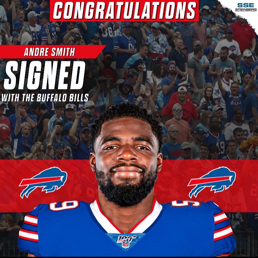 Congratulations to @AndreSmith_9 on signing a new contract with the @BuffaloBills! Hard work pays off, you've earned it Andre! Can't wait to watch your journey continue in Buffalo! #BuffaloBills #BillsMafia