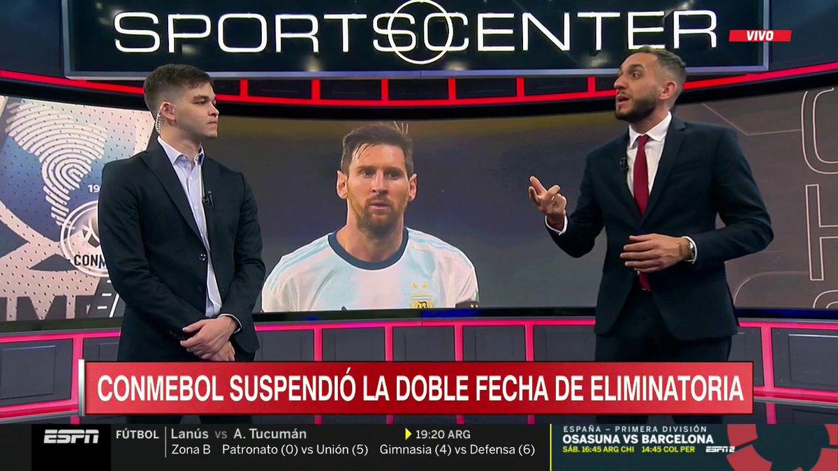 De la mano de @ayrtonmruiz y @AndresLacouture, la información del día en #SportsCenter: se posterga la fecha doble de las Eliminatorias Sudamericanas.