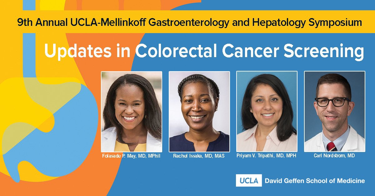 Looking forward to our session today on colorectal cancer screening @UCLAHealth 9th Annual UCLA-Mellinkoff Gastroenterology & Hepatology Symposium  Grateful to Rachel Issaka (@IssakaMD) for joining us today as a guest conference speaker!   @TrishaJamesMBA @esrailian @UCLAJCCC https://t.co/hipvwMTOfC