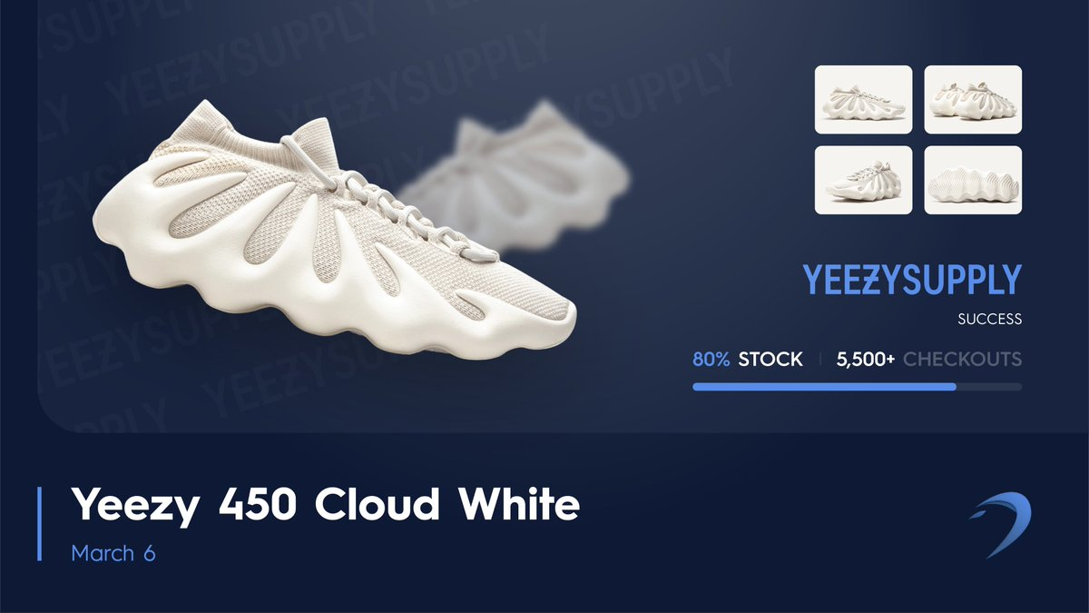 5,500+ Pairs | 80% of Stock. 🧮   The Yeezy 450 'Cloud White' stock was taken by Dashe users today. Sorry if you didn't get a pair. 🥱   If you need a copy; Retweet & Reply #DasheMarchMadness