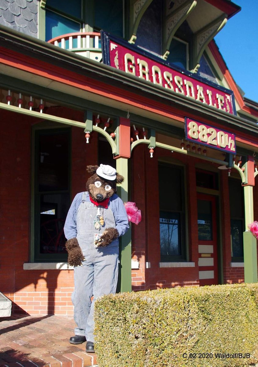#Waldolf standing in  front of the old #Grossdale train Station in #Brookfiled IL #fursuitfriday #fursuit #fursuiter #fursuiting #bear #costume