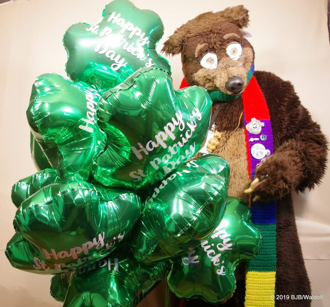 #Waldolf with a paw full of ##shamrock shaped #helium filled #balloons for #StPatricksDay #fursuitfriday #fursuit #fursuiter #fursuiting #bear #costume