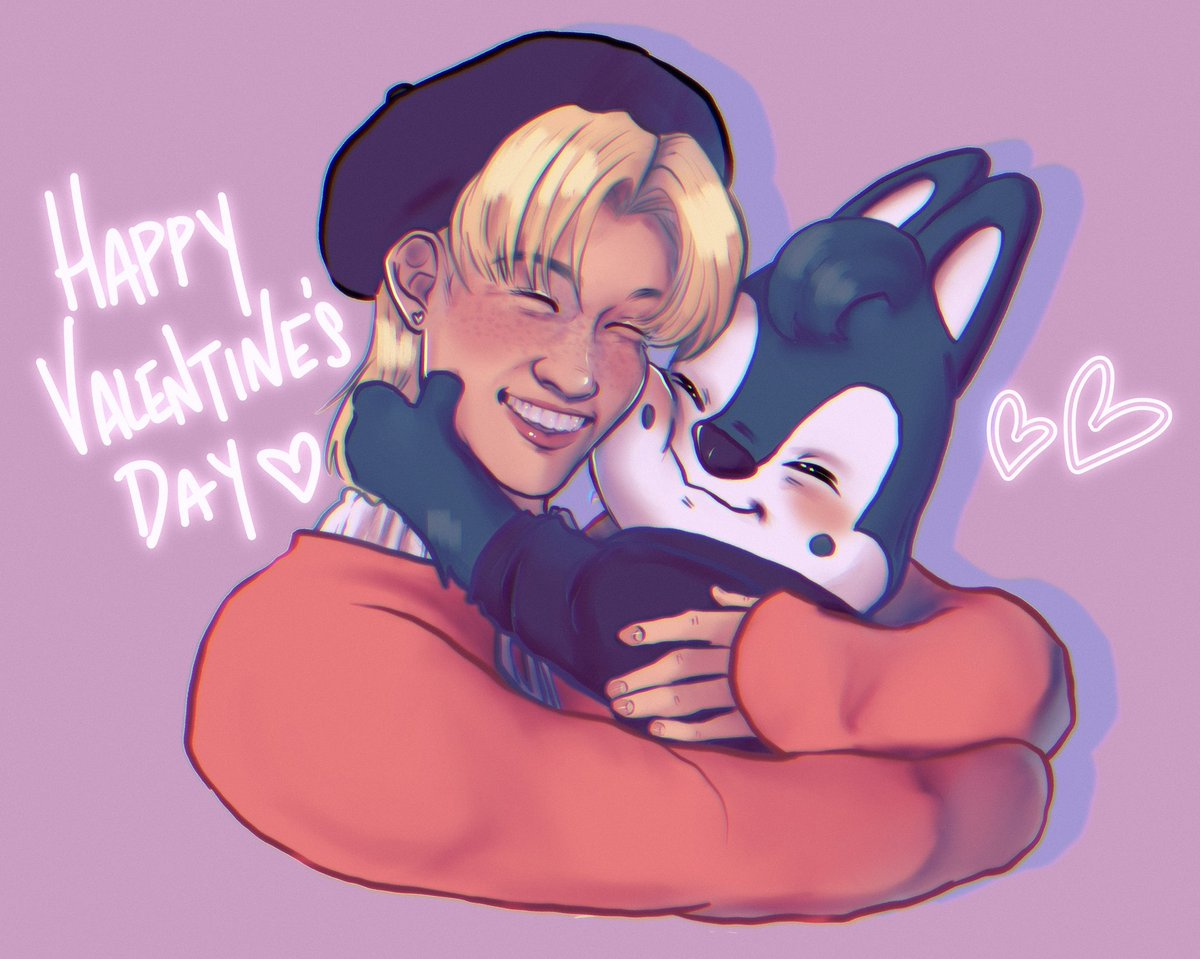 Zu and I exchanged v late valentines draws and here's mine~ ^^ happy late valentines my fave lil broooo 💕💖 luv yaaa!!!   #chanlix #skzoo