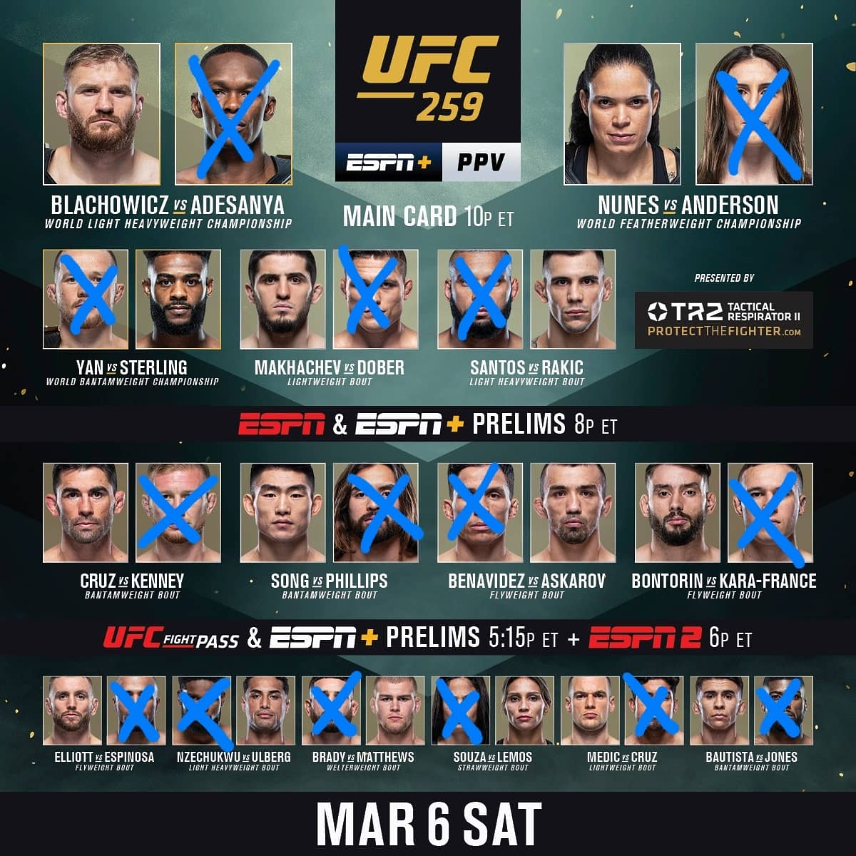 Here's our picks for tonight🔥 Scott's in blue, Marc's in red 👊🏼 who you got?🤷🏻♂️        #mmatwitter #mma #UFC #UFCVegas21 #ufcvegas #UFC259 #PodernFamily #podcast #podcasting #ufcfightisland #ufcfightnight