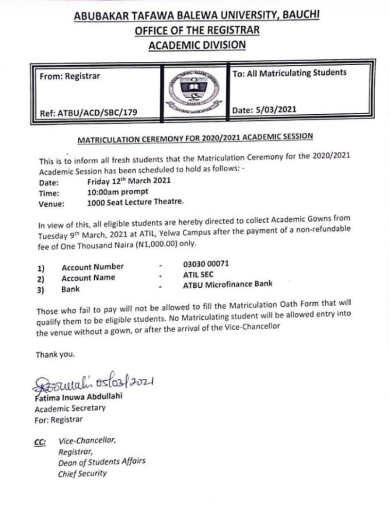 atbu matriculation ceremony date