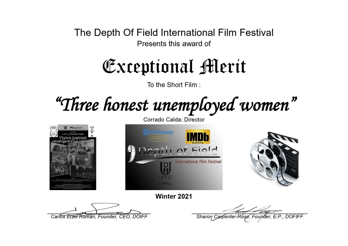 Exceptional merit Regia Three honest unemployed women #movie #short #delawere #winners