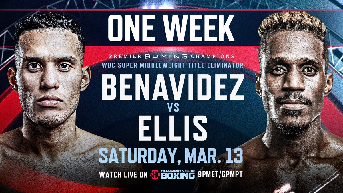 ONE WEEK AWAY 📆: Two-Time World Champion @Benavidez300 takes on dangerous veteran @RevRon89 in a headlining WBC Super-Middleweight Title Eliminator NEXT Sat., March 13 live on @Showtime at 9pm ET/ 6pm PT. #BenavidezEllis #PBConShowtime  🔗