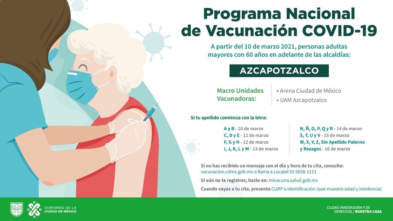 Programa Nacional de Vacunación COVID-19: alcaldía Azcapotzalco
