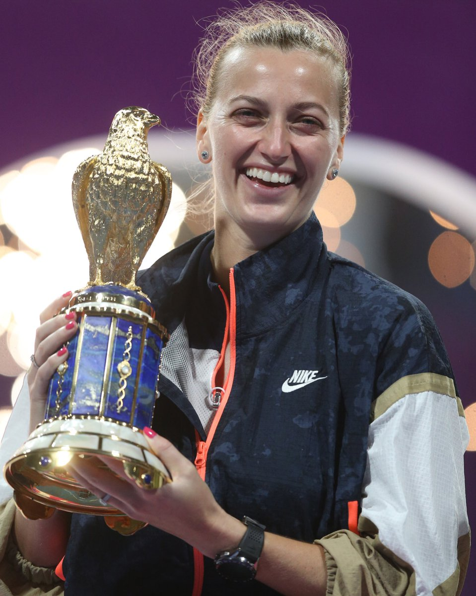 Born to fly 🏆 🦅 🇨🇿   @Petra_Kvitova is the champion in Doha.