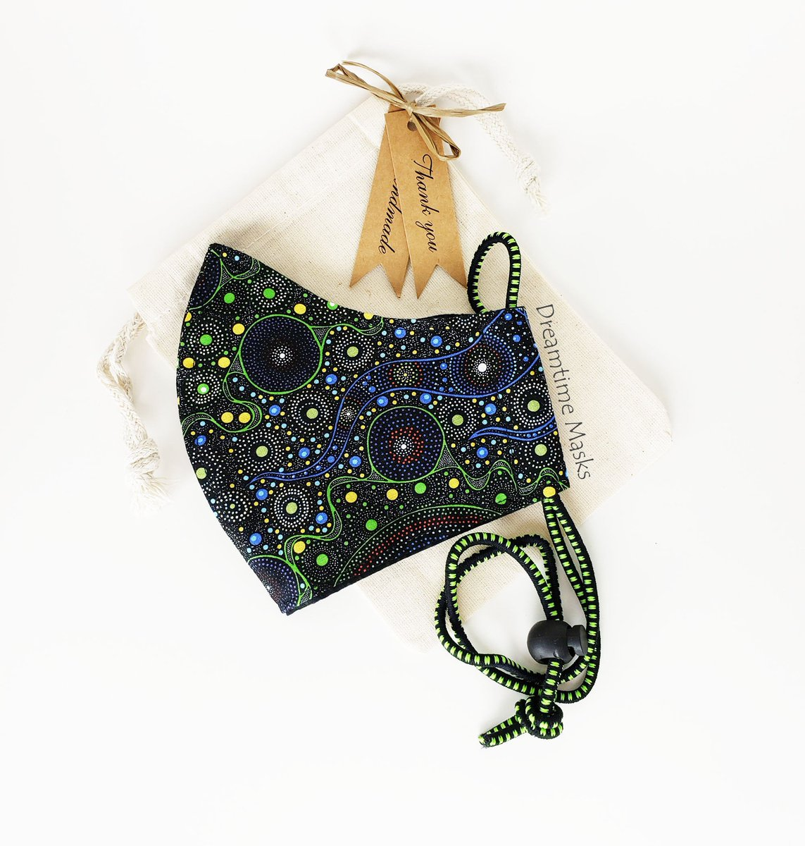 Aboriginal Art Print Face Mask Black Blue Mask Washable Cotton Face Covering Spiritual Women  #facemask #Etsy #staysafe #wearthedammmask #stayhome #facemasks