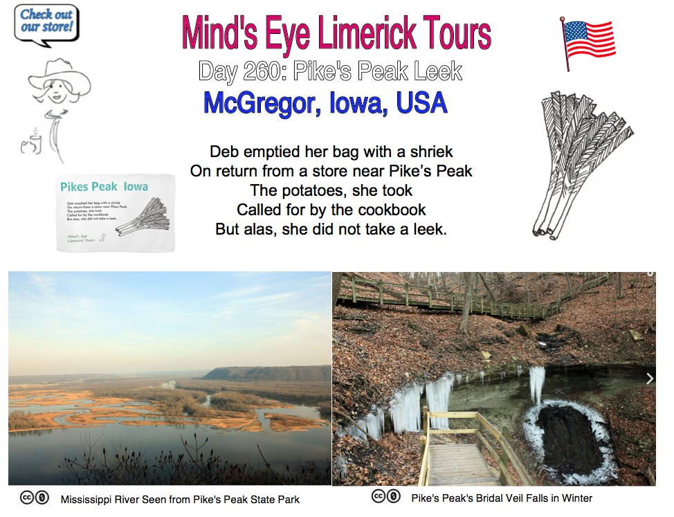 #Limerick #entertainment #humor #tote #store #PikesPeak #Iowa #Colorado #McGregor #leek