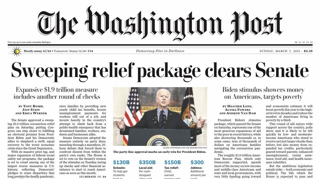 Replying to @brianstelter: Sunday's @washingtonpost A1: