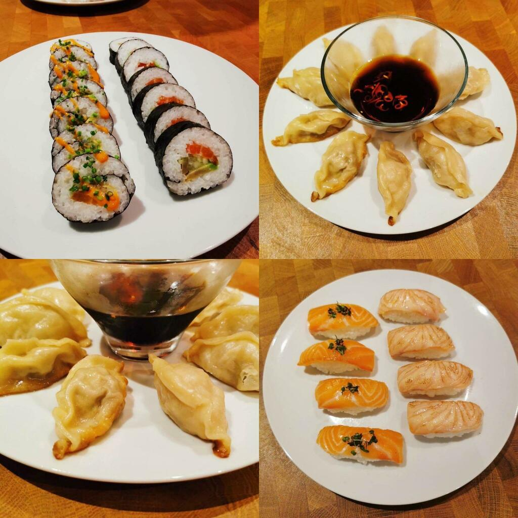 [Homemade] Various cured salmon sushi & pork gyozas. #viral #trending #foodie #foodblogger #foodphotography #ff #tbt #ico