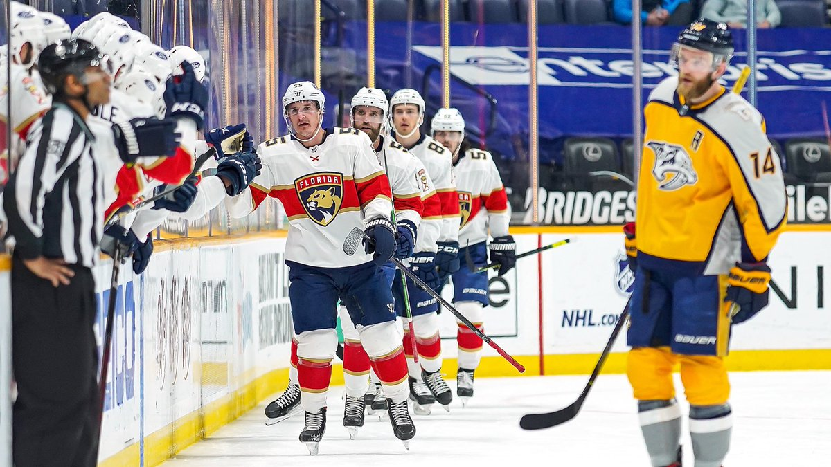 Today at NSH, Noel Acciari registered his third career hat trick, joining Pavel Bure, Olli Jokinen and Ray Sheppard as the fourth #FlaPanthers player in franchise history to have registered at least three hat tricks with the club.