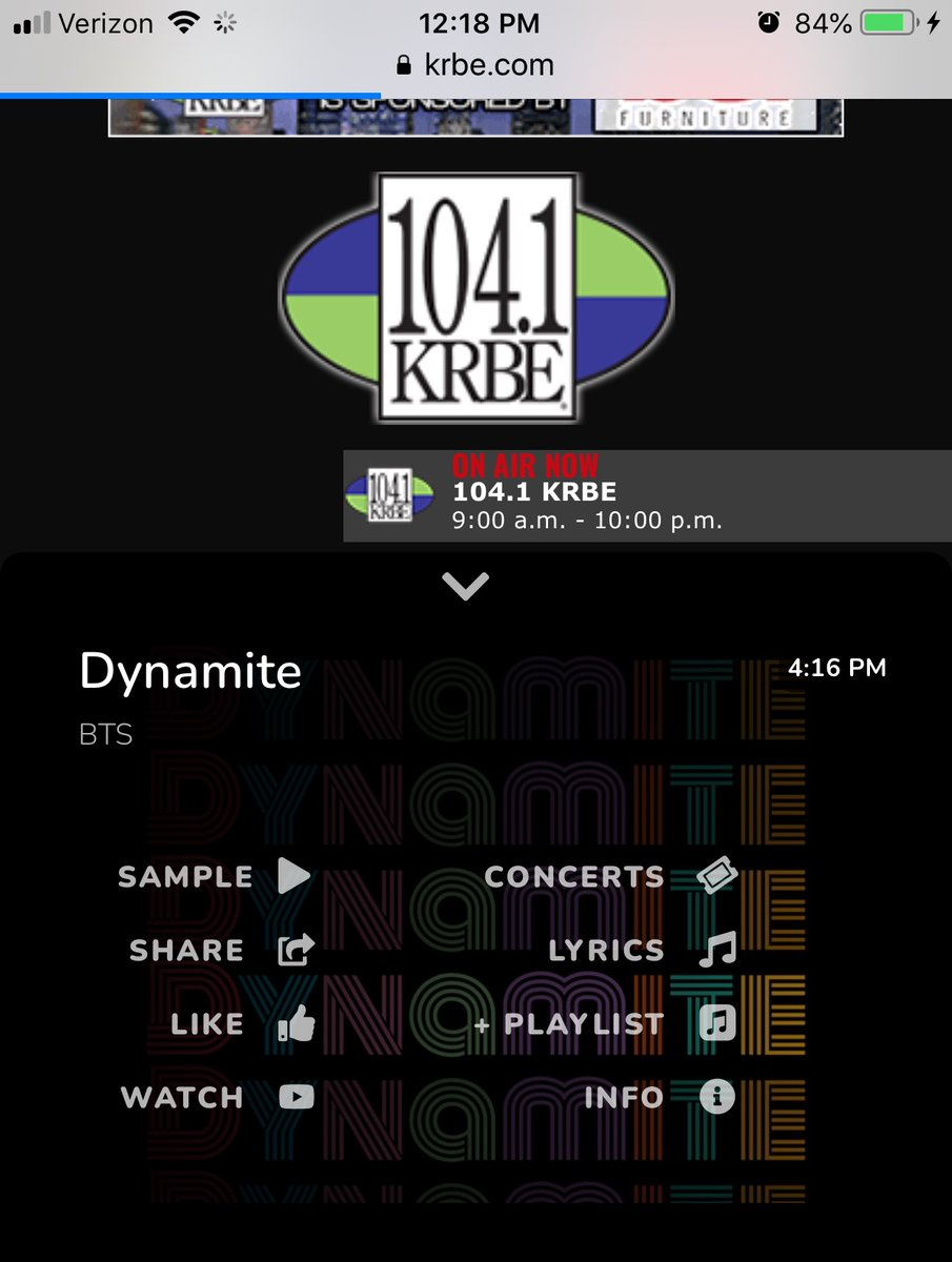 Love it!!! Thank you so much @krbe for playing #Dynamite! 💜💜💜 @BTS_twt @BorahaeFunds @BTSx50States @BTSonShazam