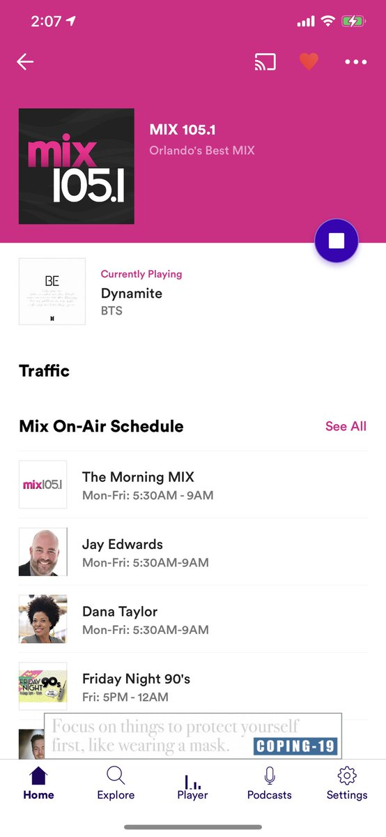 Loved to catch #Dynamite on @MIX1051 🧨📻🎧🎶💜 Thanks so much for constantly playing my favorite song🥰💜 Very much appreciated🙏🙏💜🤗  @BTS_twt @BTSonShazam @BorahaeFunds @BTSonFLRadio