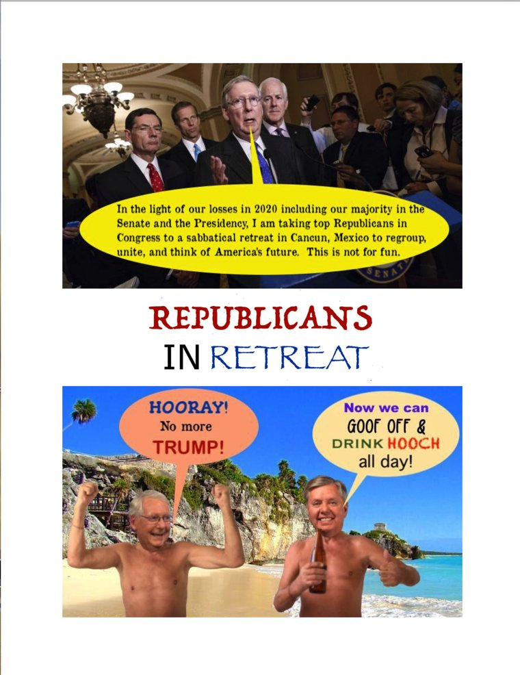 """📚  My #WIP is my 4th color #comedy #parody #novel """"Uncle Don's New World Order"""" #shortstories and #spoofs about the #Year2021 time period.  Here is a #comic #short  """"#Republicans in #Retreat""""  #ReadingCommunity #Humor #IARTG #writingcommunity #UnitedStates #conservative #Cancun"""