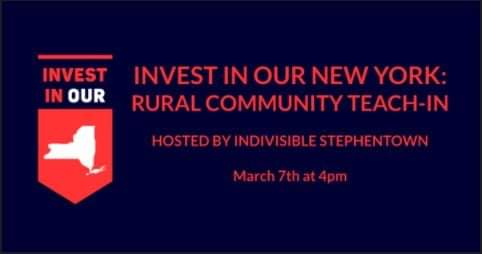 3/7 @ 4 PM @IStephentown will be hosting a teach-in customized for #UpstateNY about the  Invest in Our NY Act #IONY Key points:  - How will it benefit #NNY? - How does this close the deficit w/out raising OUR taxes?  - How will this effect our local farms & businesses? #rural