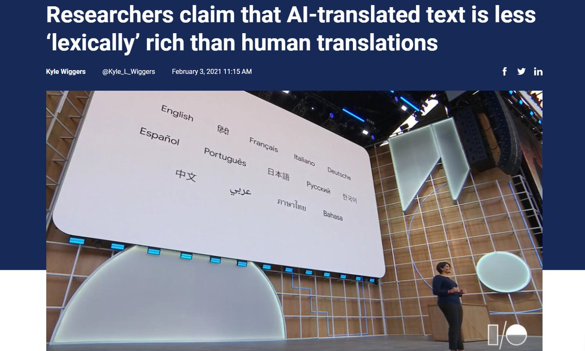 Researchers claim that #AI-translated text is less 'lexically' rich than human translations    @Kyle_L_Wiggers v/ @VentureBeat  #NLP #MachineLearning  Cc @ahier @jblefevre60 @SpirosMargaris @Fisher85M @Paula_Piccard