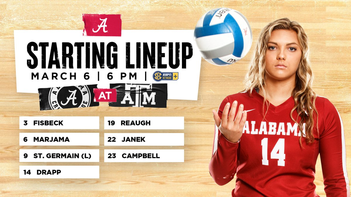 ✌️Match 2 between the Tide and the Aggies 🆚Texas A&M 📍Bryan-College Station, Texas 📊bit.ly/3c5xt7j 📺es.pn/3ehtRSm #BamaVB #RollTide