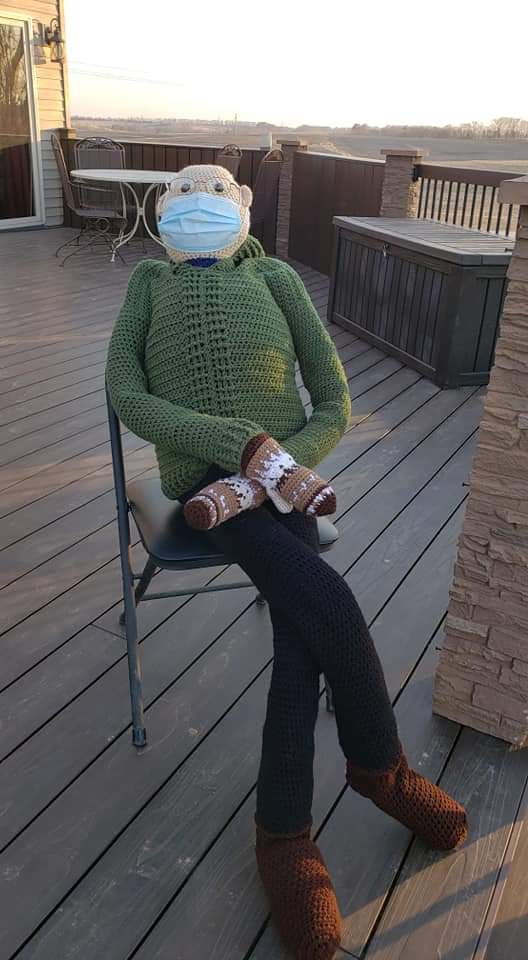 Hey @SenSanders , my momma crocheted a (nearly) life size meme you to go with the doll sized one. He seems to like the country sunset 🧡 #BernieSanders #BernieSandersmemes #berniesmittens